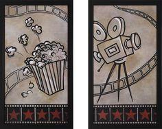 Movie Camera and Popcorn Framed Theater Wall Art Pair