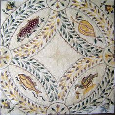 Roman mosaic depicting different animals and fruits, Pompeii.