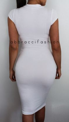 Turtle neck Knee length Short sleeve  www.AbbracciFashion.com