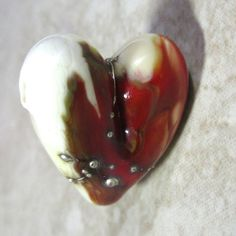 Handmade Lampwork Glass Heart Focal Bead with Silver by rosebud101, $18.00