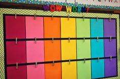 I would love a display like this in my future classroom! Each child's name would be written on a clothes pin and they would be in charge of choosing which work they would like to display. They could pick the one that they are most proud of to show off, to show off their hard work.