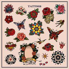 Tattoos in Traditional Vintage Style. Flash, Sailor Jerry, Body, Ink, Skin, Symbol, Decorative, Flower, Floral, Rose, Permanent, Blood. Vector Illustration. Clipart Image. EPS, SVG, PDF, JPG, PNG files.