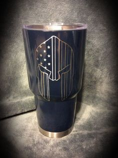 YETI 30 oz. Rambler coated with Duracoat Dark Blue.