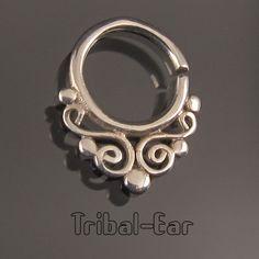 Septum piercing nez anneau argent bijou fantaisie nose ring silver TribalEar 015
