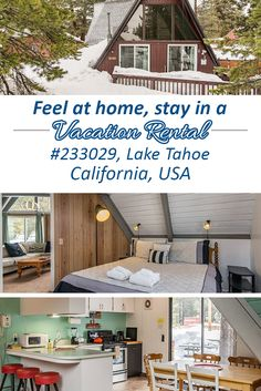 This cozy A-frame 3BR, 2BA vacation rental house in South Lake Tahoe is tucked away in a quiet neighborhood and near 3 ski resorts.