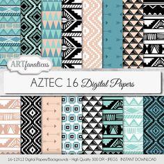 *NEW ITEM*Tribal digital paper AZTEC digital paper tribal designs in blue, beige, black, white, arrows, triangles for scrapbooking, invitations etc