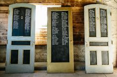 One of Canada's Most Unique Wedding Venues - Cambium Farms | A Brit & A Blonde. Vintage doors as seating chart for wedding. http://abritandablonde.com/2014/02/06/blog/magical-barn-wedding-at-cambium-farms/