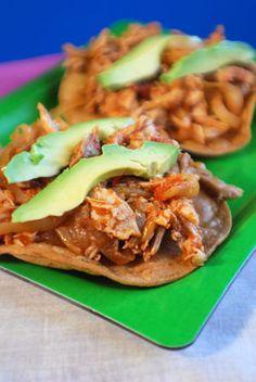 Barbara Adams Beyond Wonderful » Tostadas Tinga de Pollo Spicy Chicken Tostadas Authentic Mexican Recipe