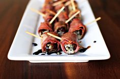 Simply Scratch » Prosciutto Wrapped, Gorgonzola Stuffed Dates with Honey-Balsamic Drizzle