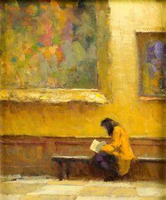 """Artist: Richard Schmid (1934-); Title: """"The Art Institute""""; Medium: Oil painting on board;"""