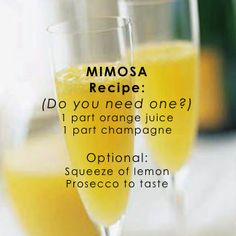 Mimosa recipe (classic!) can't wait to enjoy this on vacation.