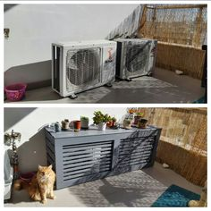 Before and after air condition compressors cover. Wood and tools bought from Leroy Merlin.Even our cat likes to spend time there now! Air Conditioner Cover Outdoor, Air Conditioner Screen, Hide Ac Units, Ac Unit Cover, Backyard Bar, Balcony Ideas, Ceiling Decor, Apartment Interior, Outdoor Projects