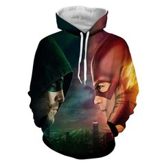 Flash & Green Arrow 3D Printed Hoodie - The Flash Jacket - Star Lab Hoodie