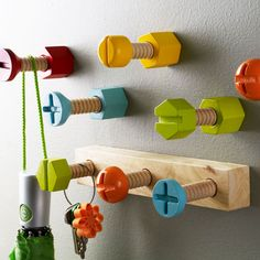 "Whimsical Hardware Hooks - Set of 5 | dotandbo.com For Jaimin either in his new bedroom, or IF we have a ""mud room"" he would totally appreciate this!!"