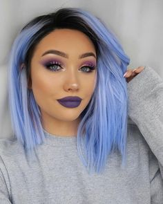 How do I get purple hair for this Wie bekomme ich lila Haare für diese Saison? How do I get purple hair for this season? Hair Dye Colors, Hair Color Blue, Cool Hair Color, Periwinkle Hair, Pastel Purple, Light Blue Hair, Pastel Hair, Hair Color Ideas, Icy Blue Hair