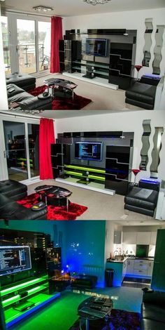 Top DIY entertainment center design ideas you must know! Top DIY Entertainment Center Design Ideas You Need To Know! Game Room Lighting, Bedroom Lighting, Lighting Ideas, Video Game Rooms, Video Games, Gaming Room Setup, Gaming Rooms, Gaming Desk, Game Room Design