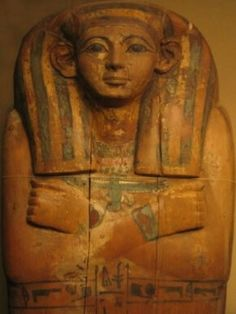 New Kingdom coffin used for the burial of Apunefer,who lived in Dynasty 18.Coffin painting and inscriptions hurriedly finished.