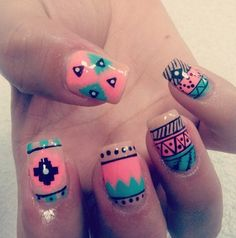 Turquoise and coral tribal nails
