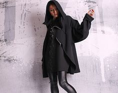 bacb486a74e Asymmetryc Extravagant Black Hoodded Coat / Qilted Cottom Asymmetrical  Coat, Cotton Jacket, Bra Sizes