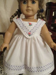 Periwinkle Blue and Peach Historic Doll Dress with by Emmakate0