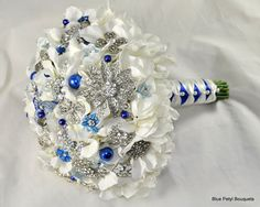 White hydrangeas & sapphire accents - Jeweled Bouquet by Blue Petyl #blue #wedding #bouquet