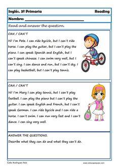 English Grammar For Kids, Primary English, English Worksheets For Kids, Kids English, English Reading, English Activities, Reading Worksheets, English Lessons, Teaching English
