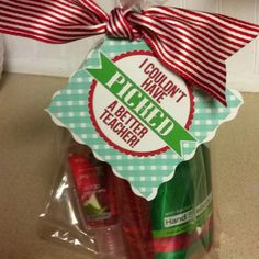 """Gracie's 1st day gift for her teacher. Bath & body works apple antibacterial for her desk and purse and tag compliments of the """"P""""!"""