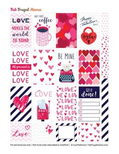 Free Printable Valentine's Planner Stickers from FabFrugalMama Free Planner, Planner Pages, Happy Planner, Monthly Planner, Printable Planner Stickers, Journal Stickers, Stickers Cool, Craft Stickers, Decoration Stickers