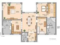 Massivhaus Kern-Haus Bungalow Fokus Grundriss Erdgeschoss
