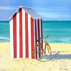 Art.fr - Reproduction d'art 'Candy Striped Beach Shack' par Henri Deuil