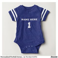 Personalized Football Jersey for Babies with baby's Name and Number, 1, #1, Monogram or Delete. CLICK: http://www.zazzle.com/personalized_football_jersey_one_piece_body_suit_tees-235496713344600966?rf=238012603407381242 Choose a different Color one piece football jersey for baby boys or girls or change to a totally different style. More vintage sports themed gifts for babies, kids and adults HERE: http://www.Zazzle.com/YourSportsGifts or visit our website to contact…