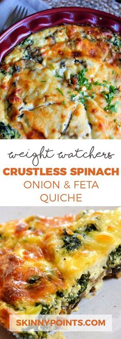 Crustless Spinach, Onion and Feta Quiche - Weight Watchers Smart Points 4