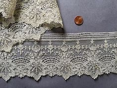 19th-C-Handmade-Point-de-Gaze-needle-lace-edging-unusual-Chestnut-leaf-design