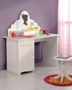 Alice Dressing Table in White Parisot Meubles Dressing Table Desk, Cuisines Design, Office Desk, Storage Chest, Kitchen Design, Alice, Table Decorations, Cabinet, Bonito