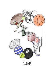 """S for Sports"" from Sketch'd by Jes // Digital type alphabet design prints  #sketchdbyjes #digitalprint #alphabet#sports #nursery #living #bedroom #kitchen #office"