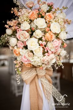 Florals for Curtain tie backs on Barn door entries---Enchanted Florist, Legacy Farms Wedding with Sarah Marie Photography (35)