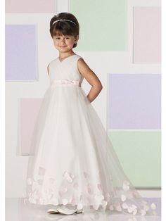 A-Linie/Princess-Linie V-Ausschnitt Sweep/Pinsel zug Netz Blumenmädchenkleid
