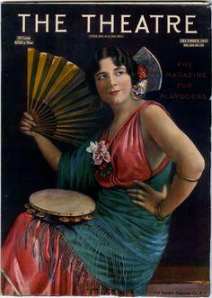 """Kittyinva: 1915 Geraldine Farrar as 'Carmen' on """"The Theatre"""" magazine."""