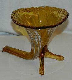 "Vintage Czech Amber White Splatter Glass Cornmucopia/w Legs Vase  4 3/4"" tall $24.99 FREE SHIPPING"