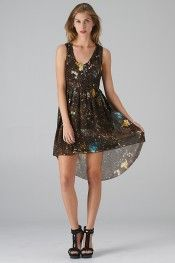 Galactic Print Hi-Lo Dress (Brown) - Front