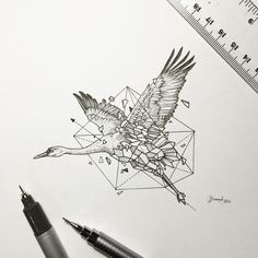 Oeuvre by Kerby Rosanes - La cigogne (Série Geometric Beasts)