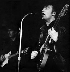 April, 1961. The Beatles at the Top Ten Club, 136 Reeperbahn, St. Pauli, Hamburg, Germany.