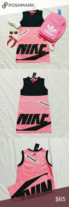 NWT *RARE* Nike Irreverent Tank Dress Coral Pink NEW WITH TAG  Women's Nike Irreverent Tank Dress  A Women's Nike Irreverent Dress made with stretch fleece fabric, Lightweight, Wide armholes coverage, High neckline, Relaxed fit, and Large Nike logo at front hem. 92% Polyester. 8% Spandex.  Style ID: 843484-010 Imported 92% Polyester. 8% Spandex  ONLY ONE AVAILABLE  ***** LISTING IS FOR DRESS ONLY. ACCESSORIES AND BACKPACK ARE NOT INCLUDED ****** Nike Dresses Mini