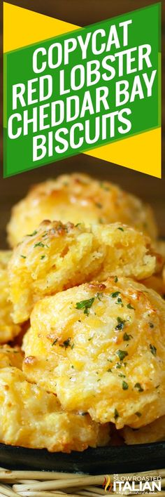 Copycat Red Lobster Cheddar Bay Biscuits are easier AND tastier than a box mix! This recipe is so easy, it only takes one bowl, one whisk, no baking mix and 20 minutes! Yes, only 20 minutes from start till serve. Biscuits Au Cheddar, Red Lobster Biscuits, Cheese Biscuits, Cheddar Cheese, Bisquick Recipes, Bread Recipes, Cooking Recipes, Muffin Recipes, Side Dishes