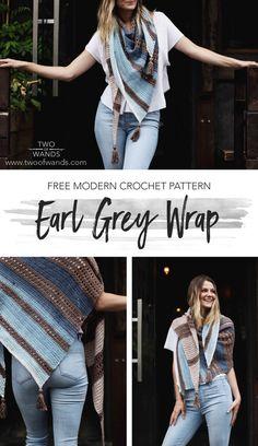 Earl Grey Wrap pattern by Two of Wands Crochet Shawls And Wraps, Crochet Scarves, Crochet Clothes, Crochet Dresses, Modern Crochet Patterns, Shawl Patterns, Knitting Patterns, Free Crochet, Knit Crochet