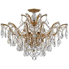 "Crystorama Filmore 27"" Wide Antique Gold Ceiling Light"