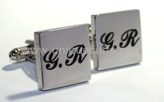 Create custom and personalized engraved cufflinks in color. Perfect for displaying your corporate logo, design, mascot, or for groomsmen gifts and weddings. Groomsman Gifts, Groomsmen, Initials, How To Memorize Things, Cufflinks, Accessories, Color, Colour, Wedding Cufflinks
