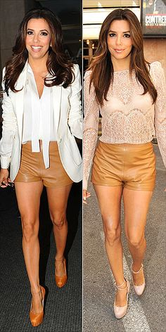 Eva Longoria, leather shorts, lace top