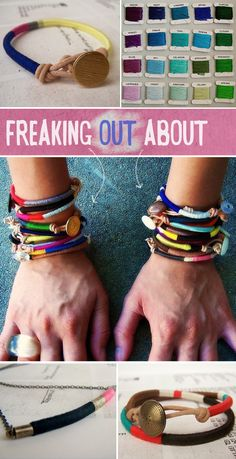 DIY bracelets.  Pinned this for now, to go back one day and learn how to do these.