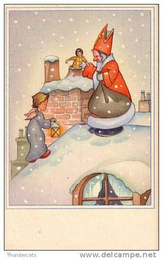 sinterklaas - Delcampe.net 12 Days Of Christmas, Vintage Christmas Cards, Holiday Cards, St Nicholas Day, Kings Day, Holidays And Events, Disney Characters, Fictional Characters, December